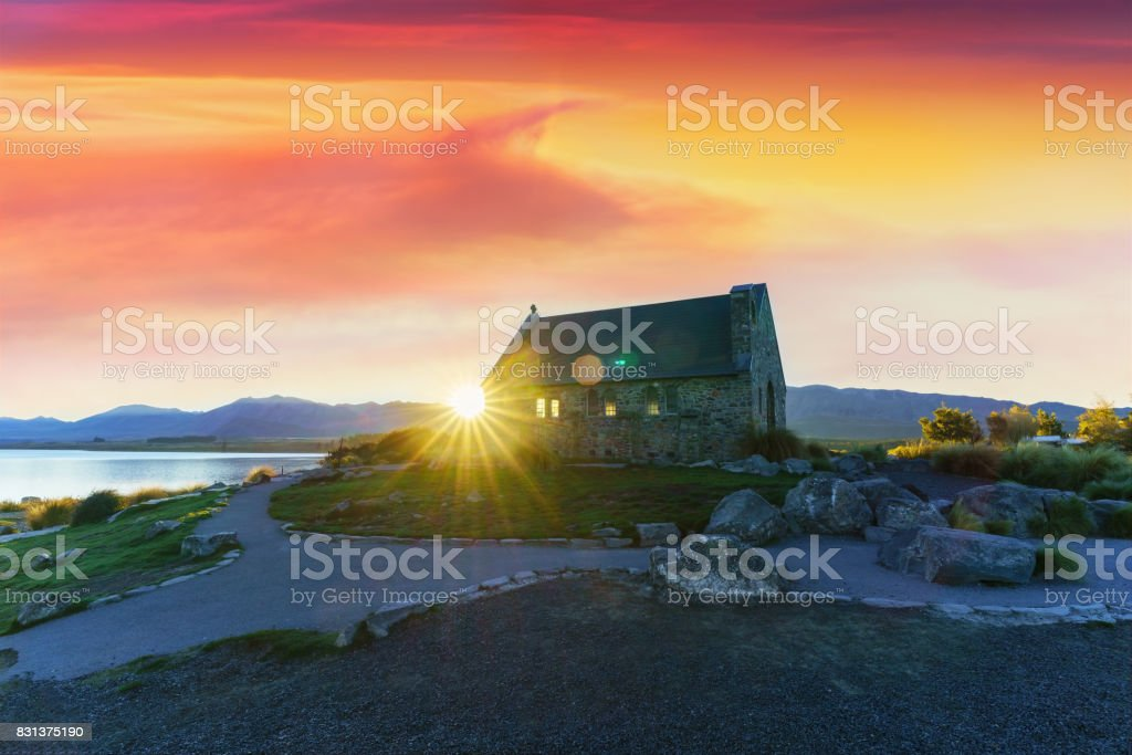 The Church of the Good Shepherd is situated on the shores of Lake Tekapo , Mackenzie District, Canterbury Region, South Island of New Zealand stock photo