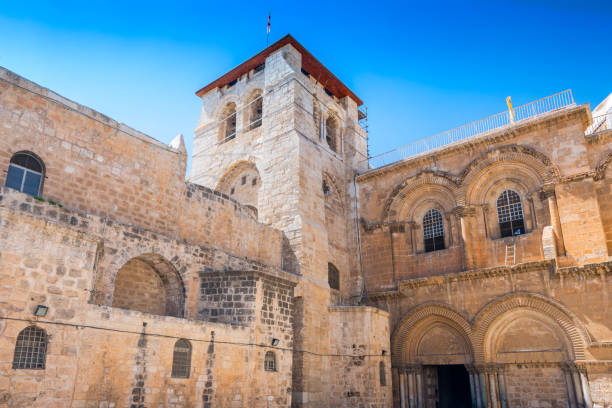 The Church of the Holy Sepulchre also called the Basilica of the Holy Sepulchre in old city Jerusalem, Israel. stock photo
