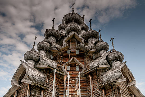 The Church of Transfiguration - Kizhi Island The Church of Transfiguration built 1714 on the Kizhi Island, Lake Onega, Russian Karelia. republic of karelia russia stock pictures, royalty-free photos & images