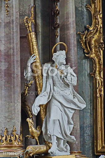Oberammergau, Bavaria Germany - August 2019: The church patron saint Peter of the Catholic parish church of St. Peter and Paul by Franz Xaver Schmädl (1705 – 1762).