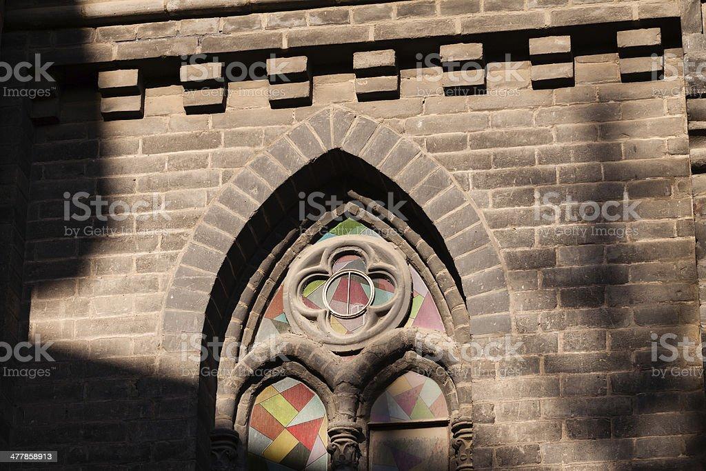 The church windows royalty-free stock photo