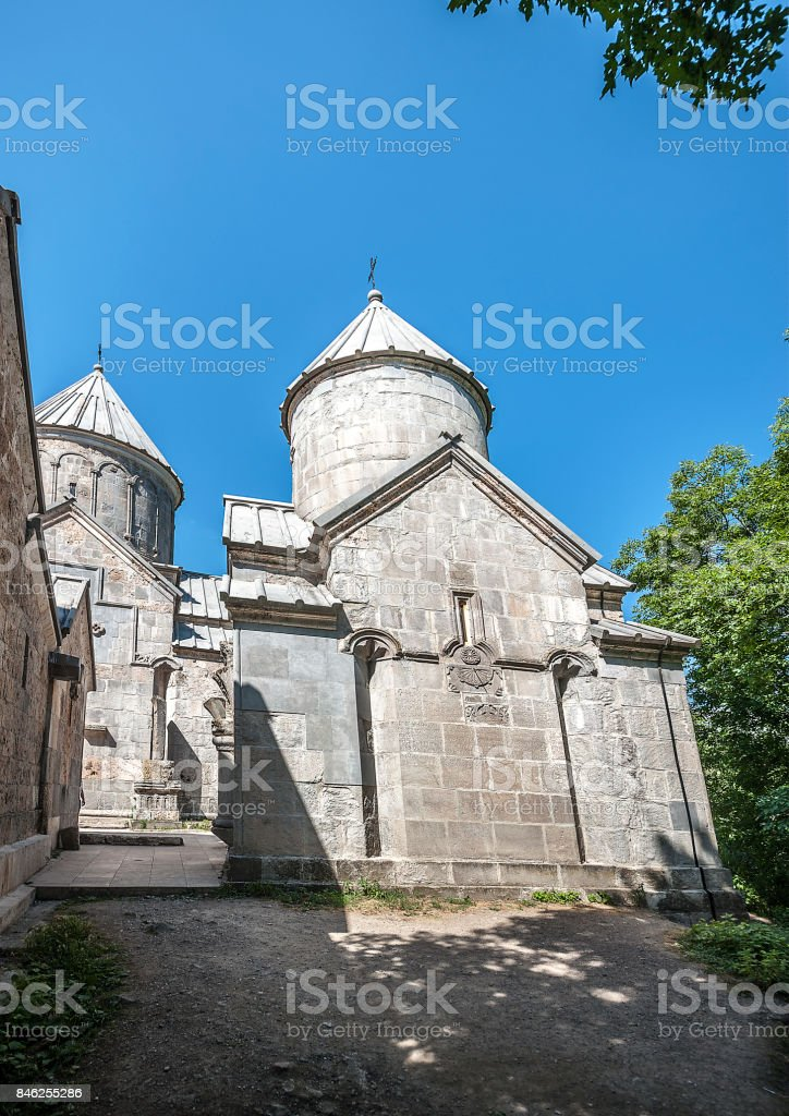 The churches of Surb Astvatsatsin and Surb Stepanos in the monastery of Haghartsin. stock photo