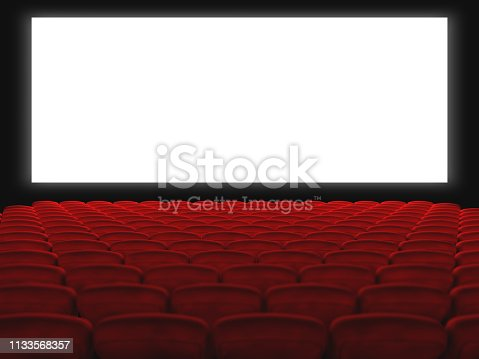 cinema hall with red seats and white screen. 3d render