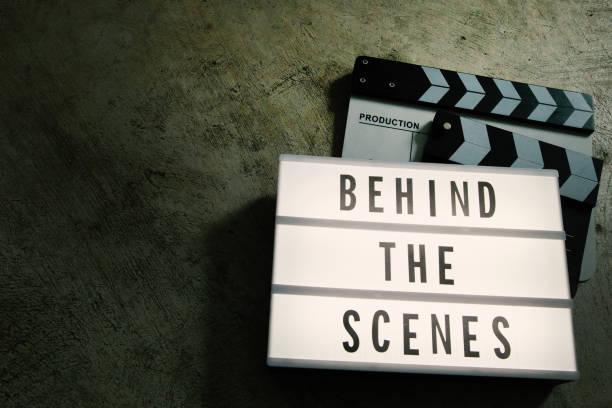 The cinema light box in dark tone film content. stock photo
