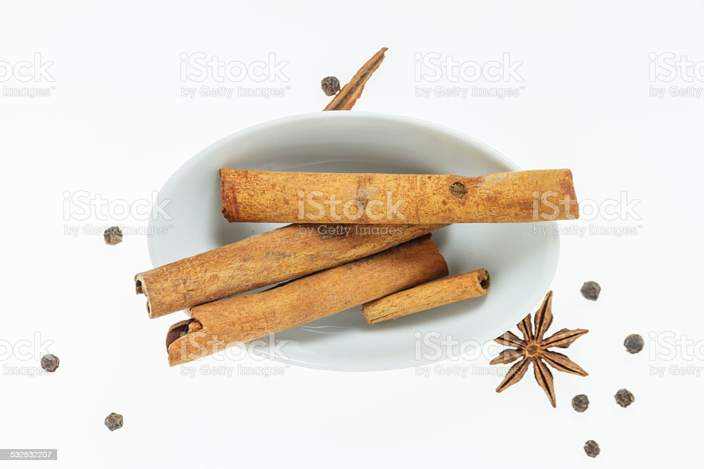 The Cinnamon stick top view for decorate project. stock photo