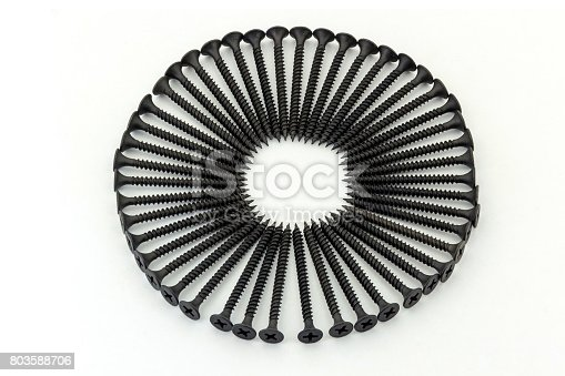 istock The circle is lined with black middle screws 803588706