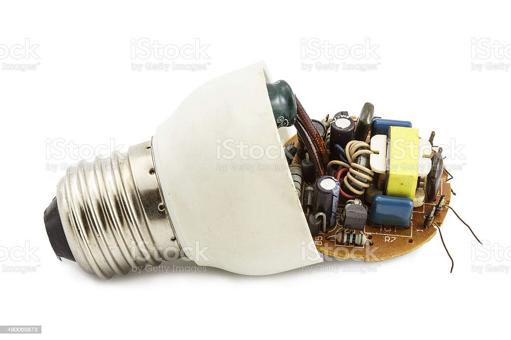 The circuit of a compact fluorescent stock photo