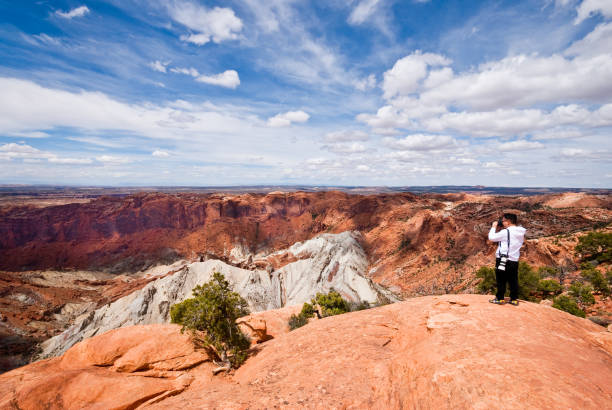 Photographing Upheaval Dome stock photo