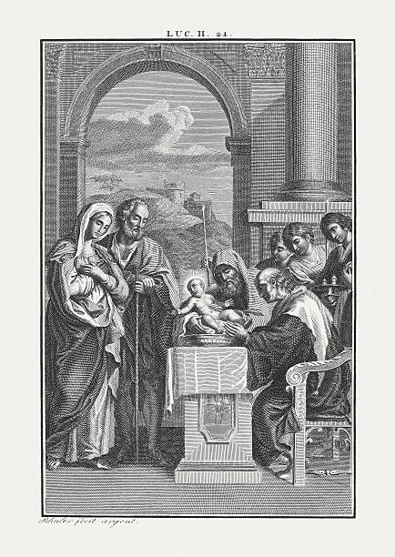 The Circumcision of Christ (Luke 2), copper engraving, published c.1850 – Foto