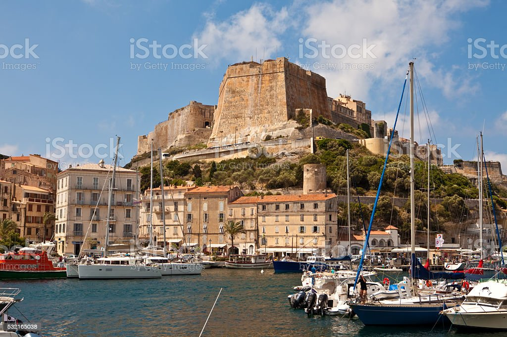 The Citadel and harbor in Bonifacio, Corsica stock photo