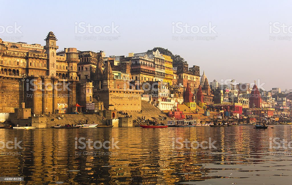the city and ghats of Varanasi stock photo