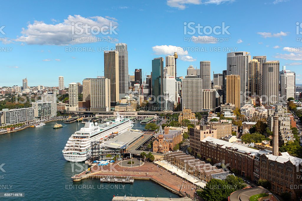 The city as seen from the Harbor Bridge. royalty-free stock photo