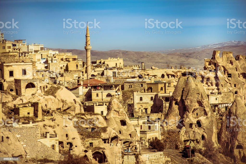 The city center is located between the volcanic fairy chimneys - Cappadocia stock photo