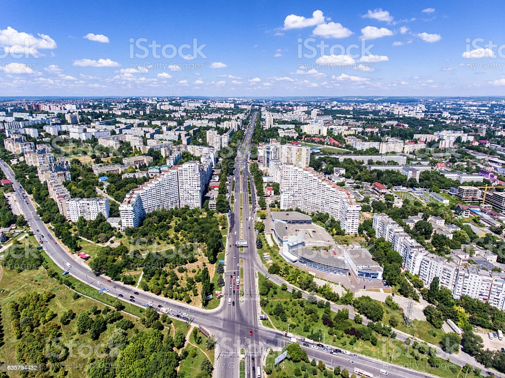 The City Gates of Chisinau, Republic of Moldova, Aerial view stock photo