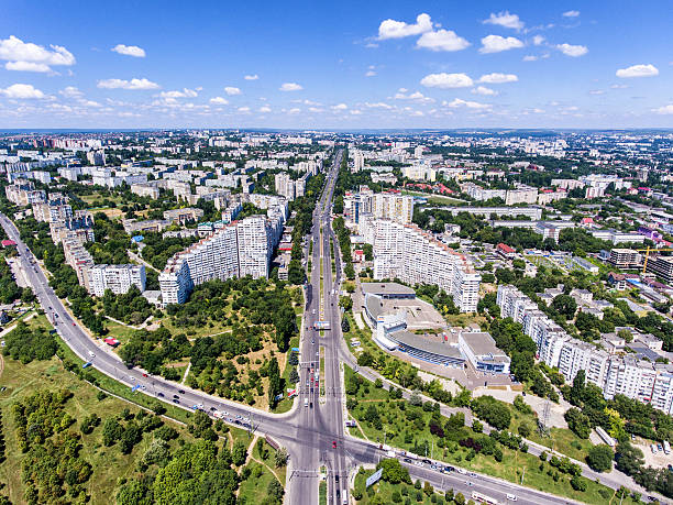 the city gates of chisinau, republic of moldova, aerial view - moldova stock pictures, royalty-free photos & images