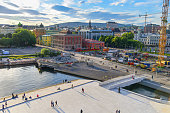 People enjoying the summer at Aker Brygge, the popular leisure district on the Oslo waterfront overlooking the marinas of Oslofjrden, Norway.