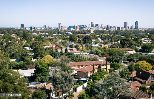 The city of Adelaide viewed from above houses and flats in the green, leafy eastern suburbs