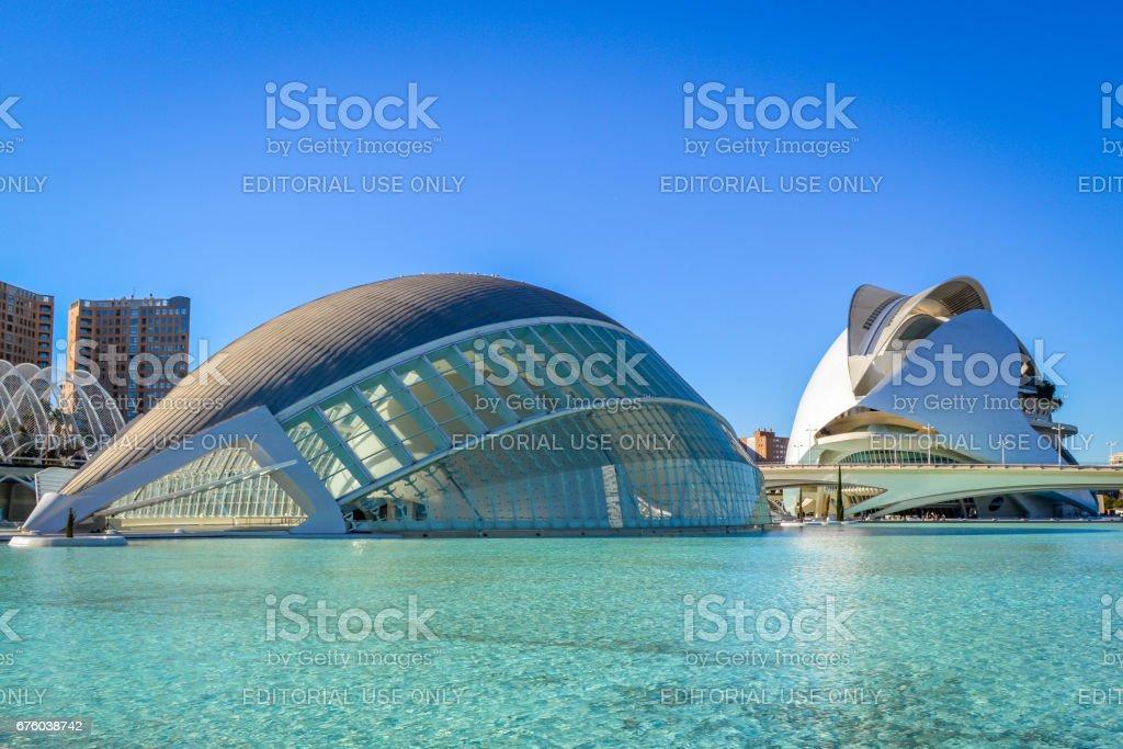 The City of Arts and Sciences, Valencia, Spain - The Hemisferic and the Palau de les Arts stock photo