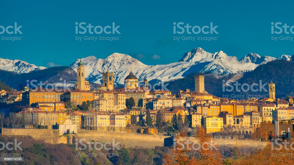 The city of Bergamo with high stock photo