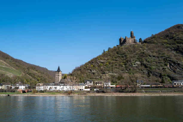The city of Boppard at the German Rhine area stock photo