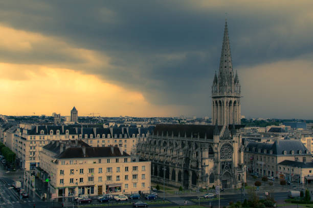 the city of caen under a storm - caen stock pictures, royalty-free photos & images