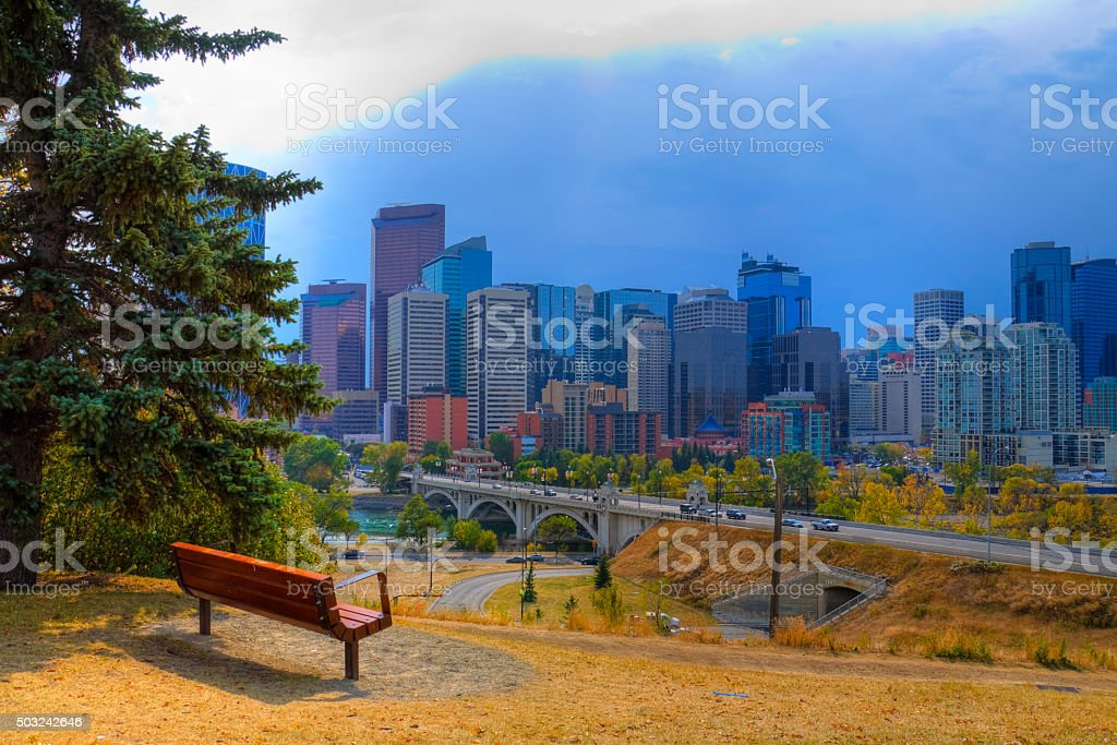 Hdr The City Of Calgary Skyline At Sunrise Stock Photo