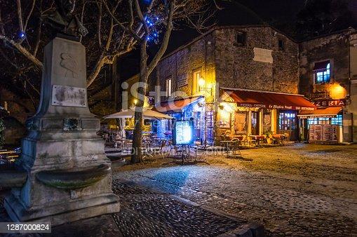 Carcassonne, France - December 08, 2017: streets of La cite de Carcassonne at night