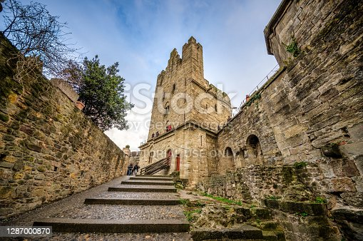Carcassonne, France - December 08, 2017: Medieval citadel of Carcassonne. Carcassonne is in the Aude department and chief town of the Languedoc-Roussillon region in the south-west France. Its historic center consists of a walled medieval citadel protected by UNESCO since 1997.