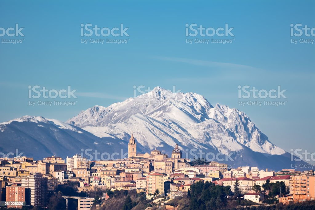 The city of Chieti and behind the mountain of Gran Sasso stock photo