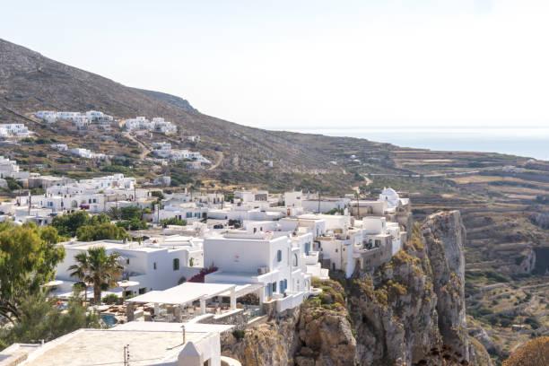 The city of Chora on Folegandros island stock photo