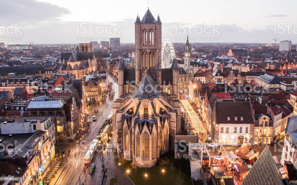The city of Ghent at sunset. stock photo