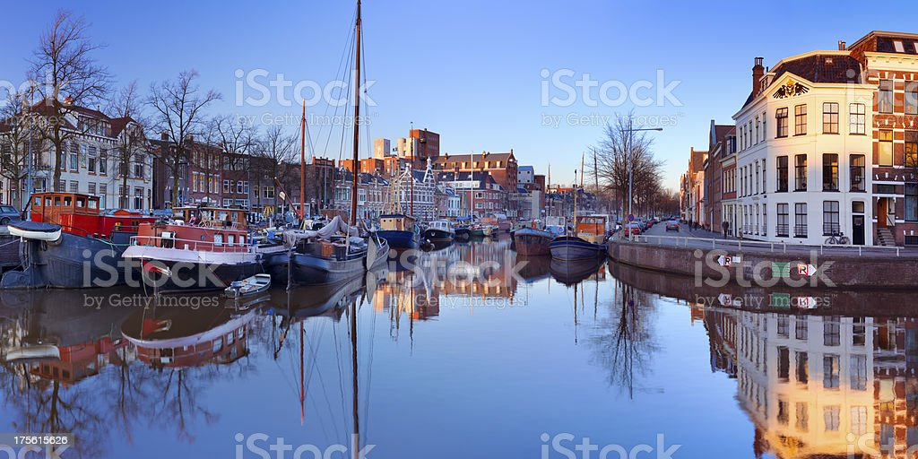 The city of Groningen, The Netherlands at sunset stock photo