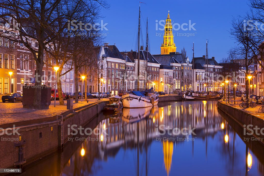 The city of Groningen, The Netherlands with A-kerk at night stock photo