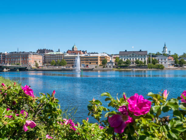 The city of Harnosand in north part of Sweden. Flowers and lake in foreground. Center in background. Summer daytime. stock photo