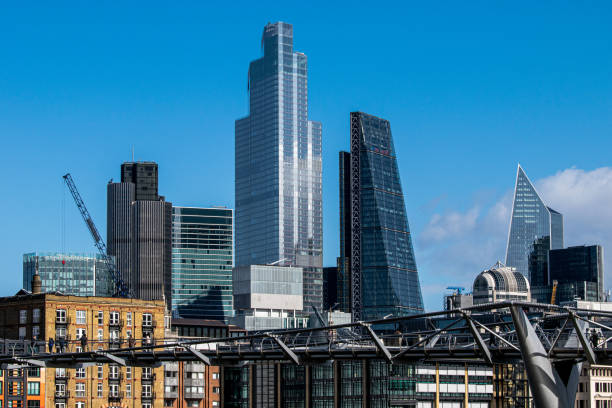 The City of London behind the Millennium Bridge stock photo