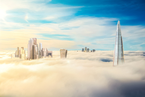 The City of London Future Development, The Shard and Canary Wharf Above the Clouds