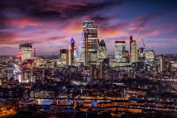 The City of London just after sunset, United Kingdom stock photo