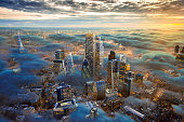 A composite / hypothetical computer photoshop image of the city of London above the clouds including possible future development.