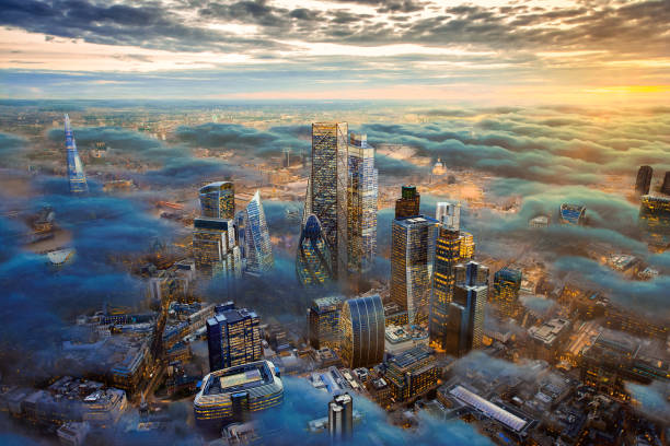 The City of London of the Future Above the Clouds A composite / hypothetical computer photoshop image of the city of London above the clouds including possible future development. london england stock pictures, royalty-free photos & images