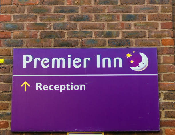 the city of London London. June 2018. A view of a sign for Premier Inn in the city of London inn stock pictures, royalty-free photos & images