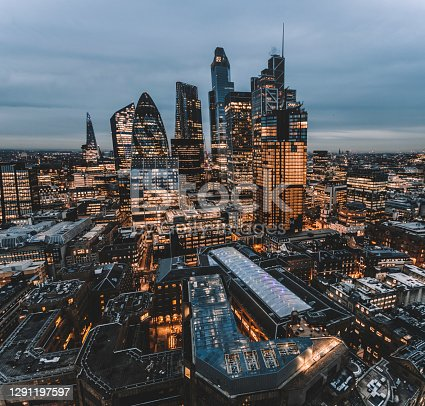 istock The City of London Skyline at Night, United Kingdom 1291197597