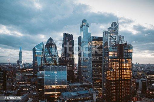 istock The City of London Skyline at Night, United Kingdom 1312550959