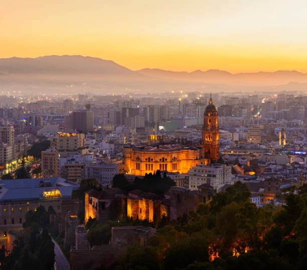 The City of Malaga at Sunset, Andalusia, Spain stock photo