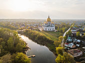 The city of Morshansk. Spring aerial view. Russia. Trinity Cathedral. River tsna
