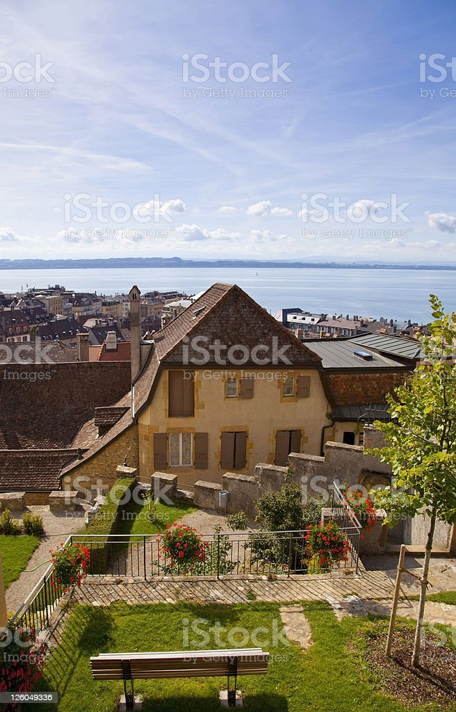 The city of Neuchatel, Switzerland stock photo