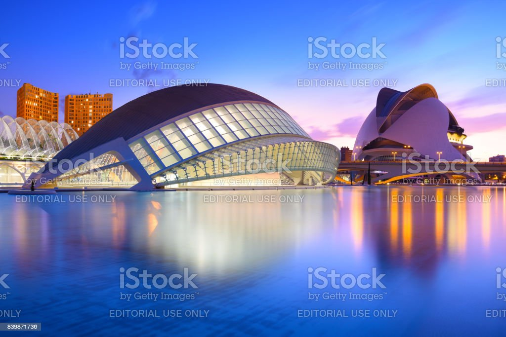 The city of the Arts and Sciences at the blue hour, Valencia, Spain stock photo