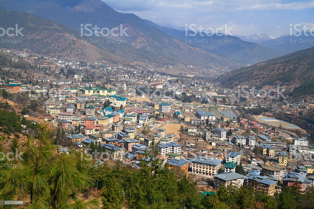 The city of Thimphu, Bhutan stock photo