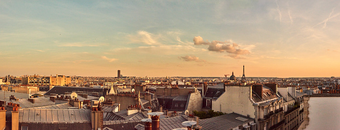 Cropped shot of historical buildings in the city of Paris, France