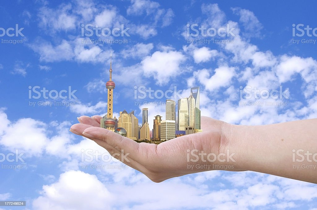 The city skyline in your hands royalty-free stock photo