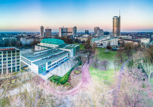 The city skyline of Essen with the municipal garden stock photo